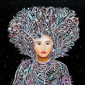Midwife by Meghan Oona Clifford shows a female with various multicolor shapes flowing around her head and body against a space background