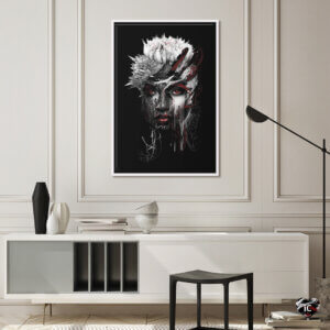 Red Eye by Riza Peker shows a portrait of a woman with dark streaks over her face and spiky white hair