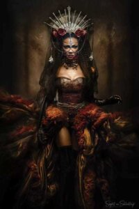 Lady of the Night by Siegart shows a woman with long dark hair wearing a red corset dress and a spiked crown with chains over her face