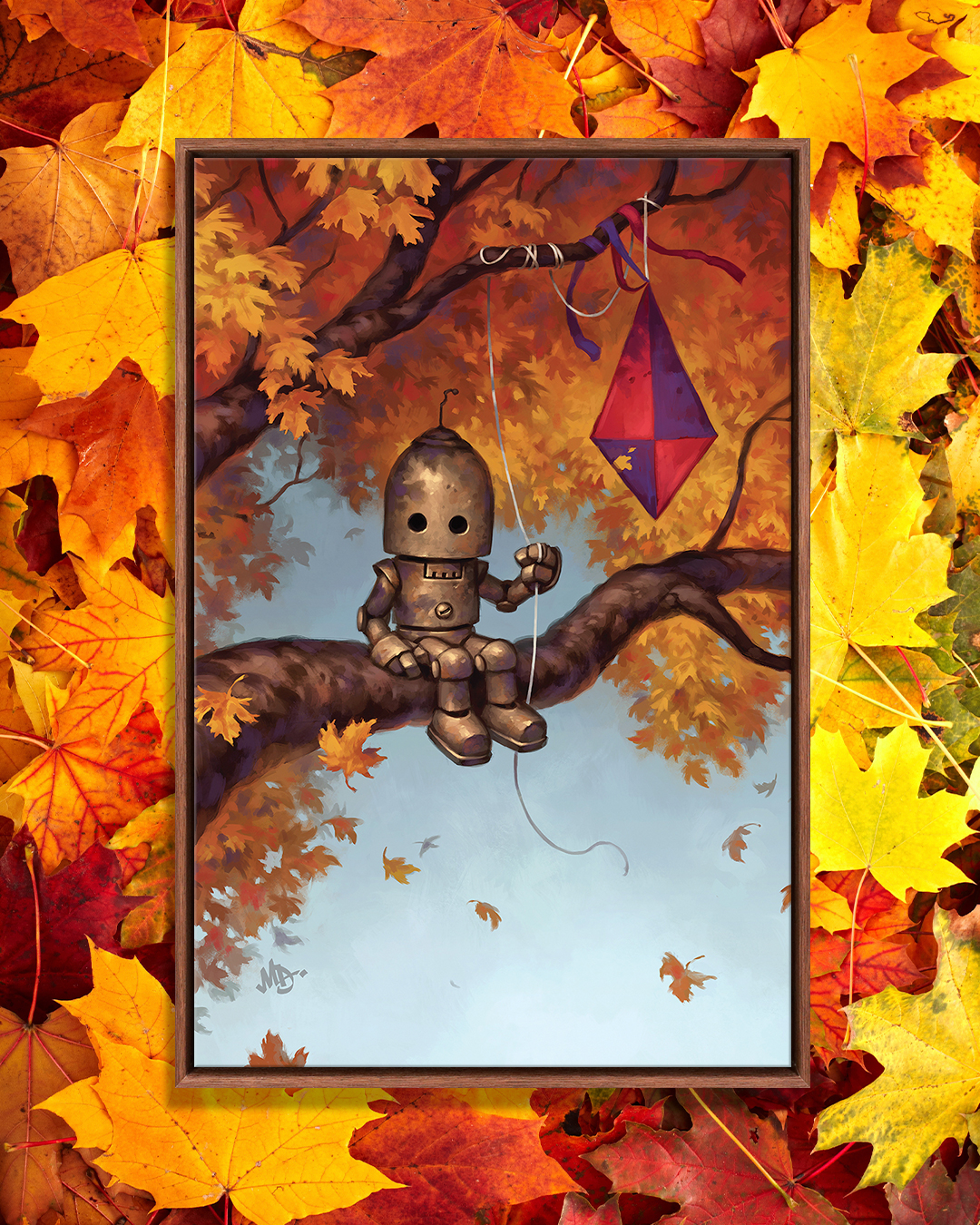 Robot in a tree branch with a kite by iCanvas artist Matt Dixon