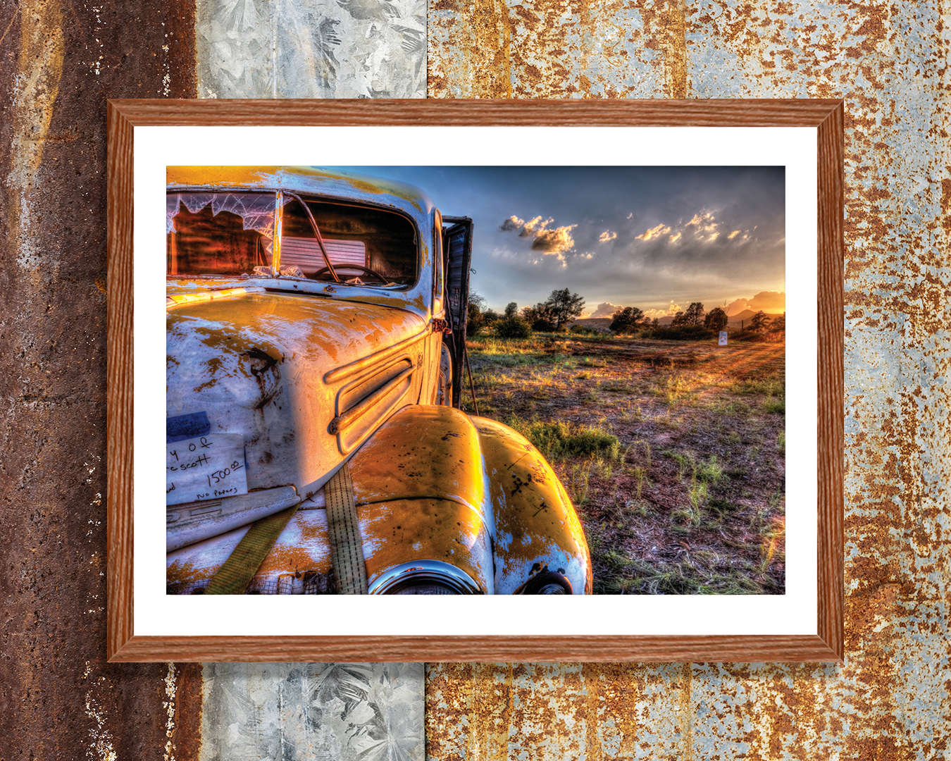 Rusty truck at golden hour by iCanvas artist Bob Larson