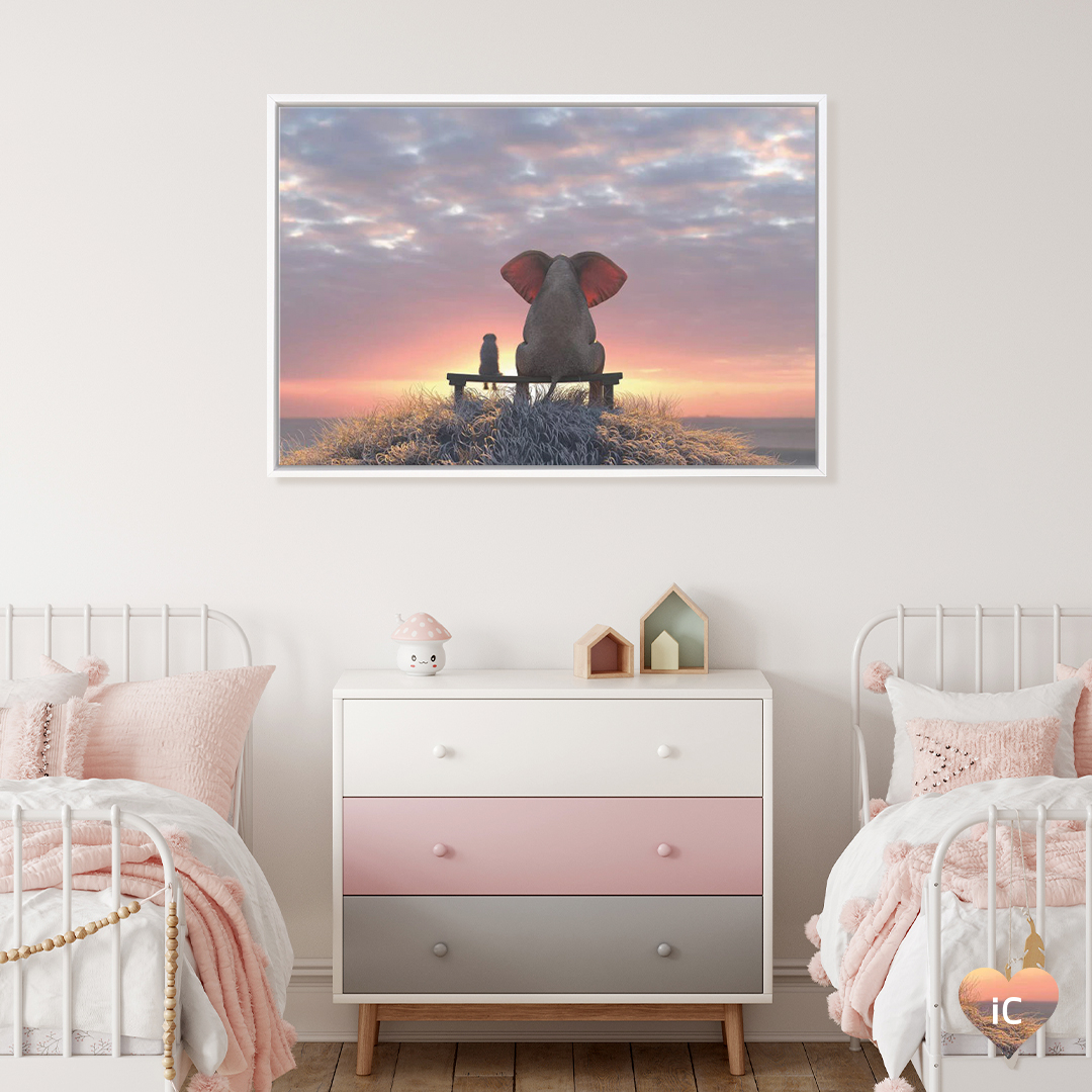 Elephant and dog watch the sunrise by iCanvas artist Mike Kiev