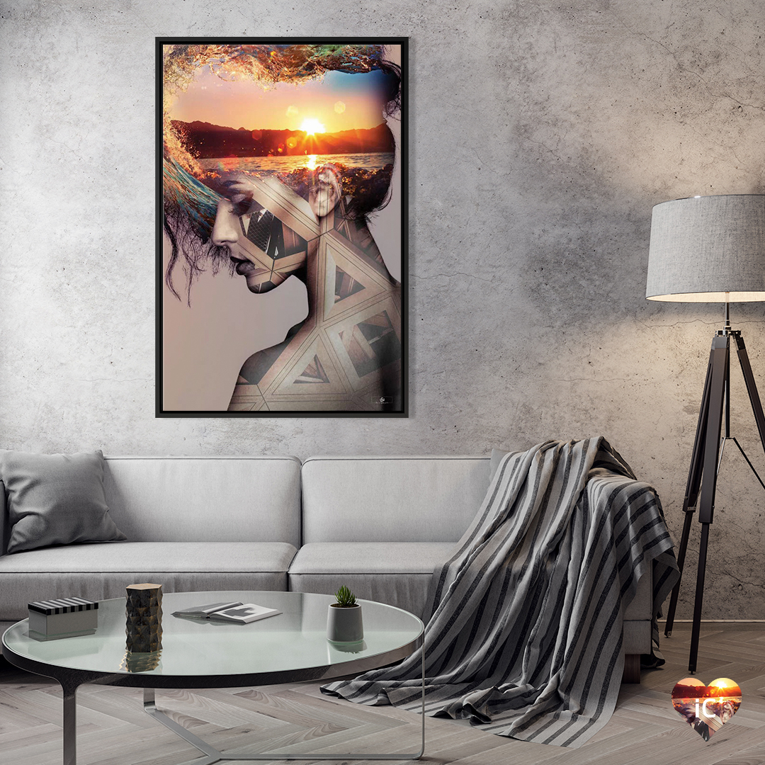 Abstract sunset in woman's head by iCanvas artist fndesignart