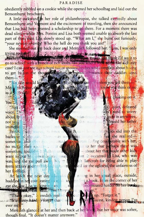 black woman silhouette against text and color