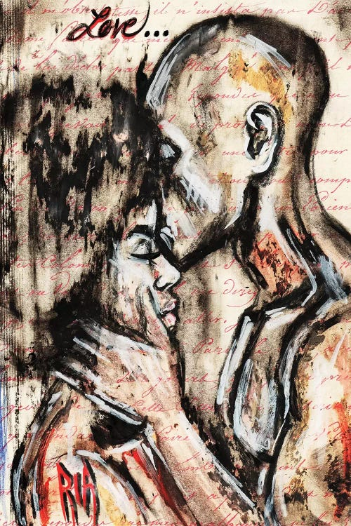 woman and man kissing below the word love