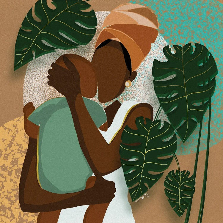 faceless mother holding her child against botanical background