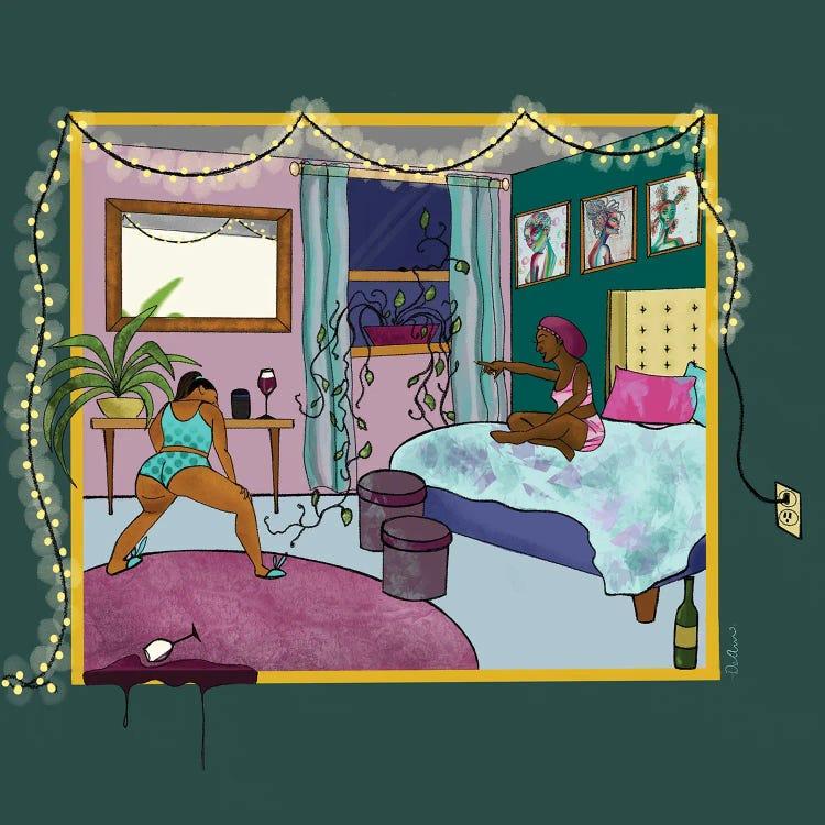 friends celebrating in bedroom