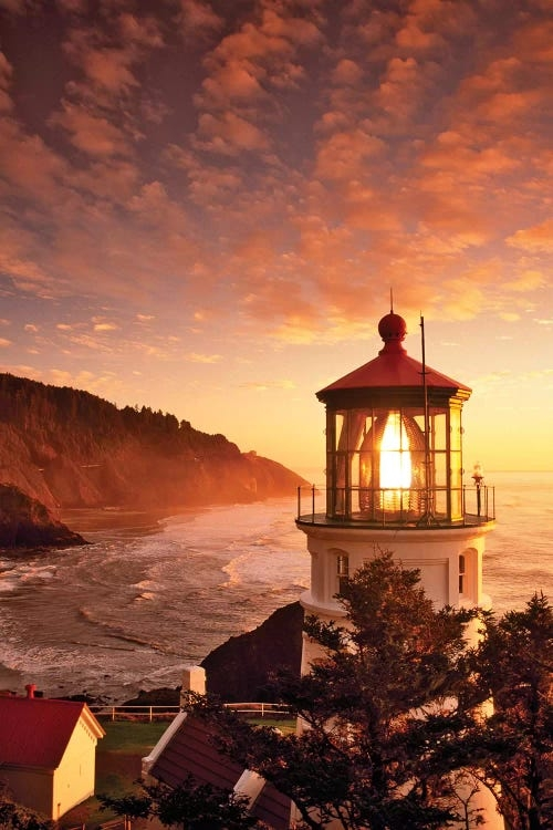 Lighthouse over beach at sunset by iCanvas artist Dennis Frates