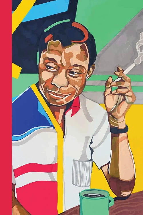 James Baldwin with a cigarette and coffee