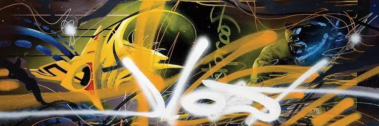"""""""Bulletproof"""" by Harry Salmi features spray painted lines of white and yellow against abstract shapes of blue and black."""