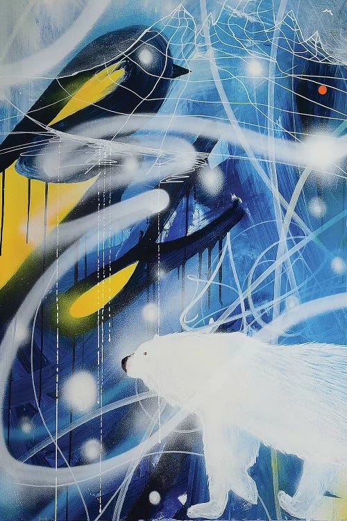 """""""Climate change"""" by Harry Salmi shows a polar bear against an abstract background of blue and yellow."""