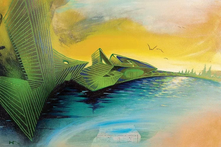 """""""Dawn"""" by Harry Salmi shows a body of water with green abstract elements and birds against a yellow sky."""