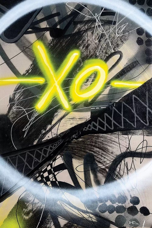 """""""Extra Old"""" by Harry Salmi shows the letters XO against a black and white abstract."""