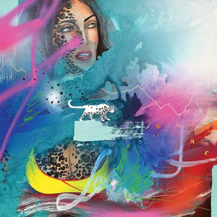 """""""Metamorphosis"""" by Harry Salmi features a leopard and a woman layered with vibrant spray painted colors."""
