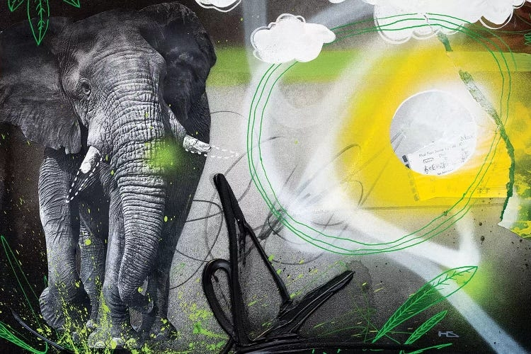 """""""Power Animal"""" by Harry Salmi shows an elephant beside black, green, yellow and white abstract lines and shapes."""