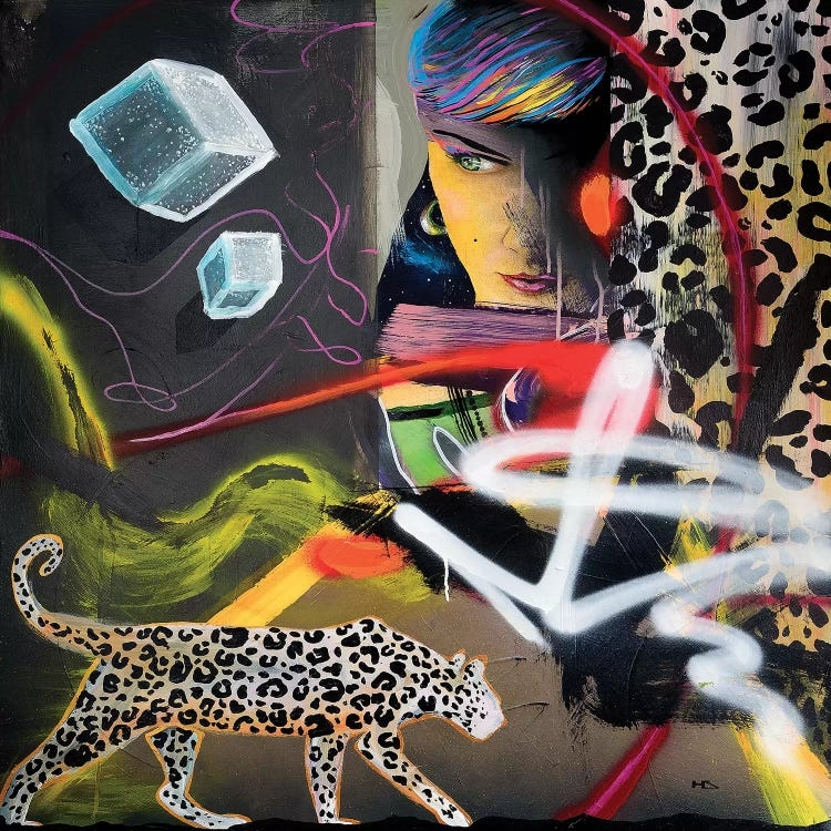 """""""Wild Hearts"""" shows a leopard and a woman's face combined with spray painted lines and abstract shapes."""