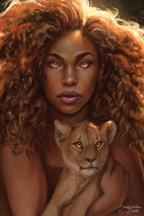 black woman holding a lion cub