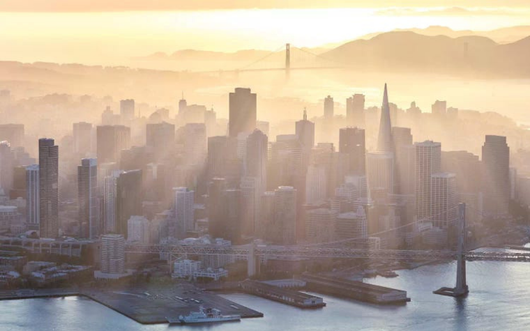 Sunset over San Francisco by iCanvas artist Matteo Colombo