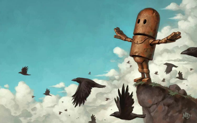 Robot on a ledge in the sky by iCanvas artist Matt Dixon