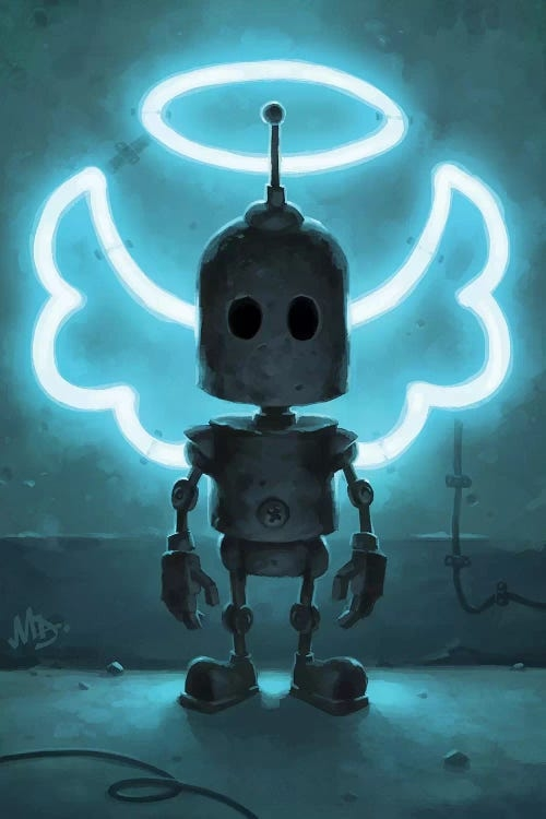 Robot with neon wings and halo by iCanvas artist Matt Dixon