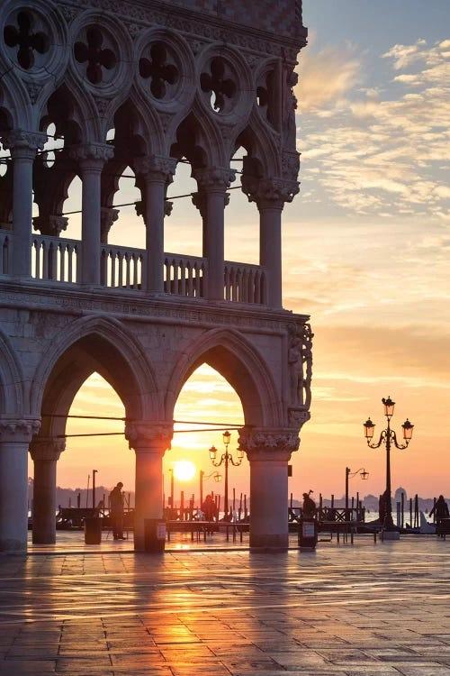 Sunrise behind European architecture by iCanvas artist Matteo Colombo