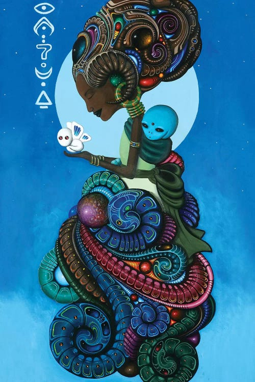 alien and tribal woman in the sky