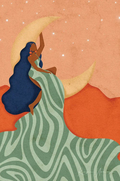 a black woman sitting on the moon