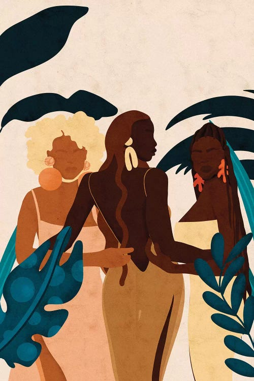 three black women by plants