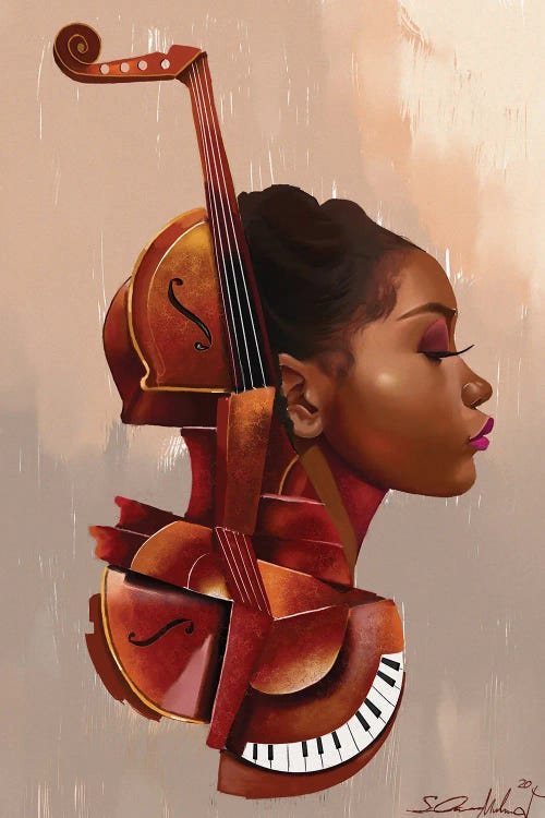 black woman's face within a violin