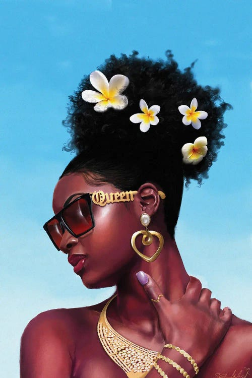 black woman with flowers in her hair and gold jewelry