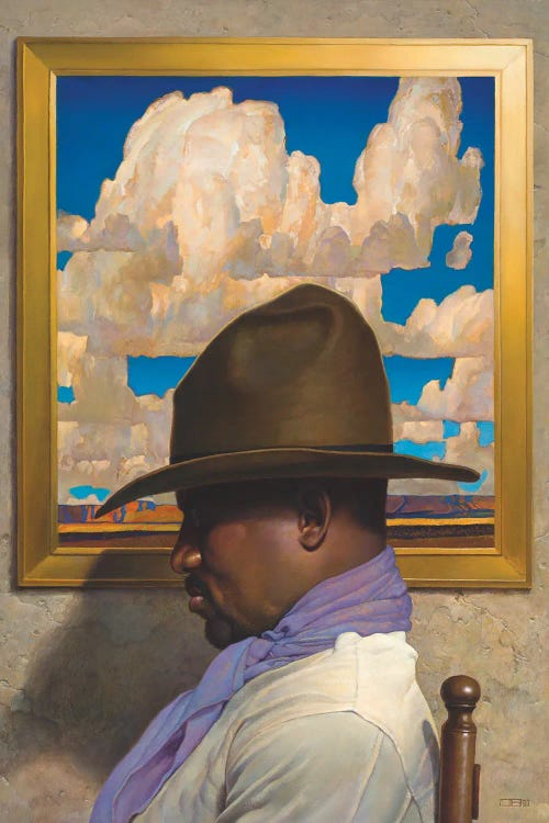 profile of a black man in a western hat in front of a cloudy picture