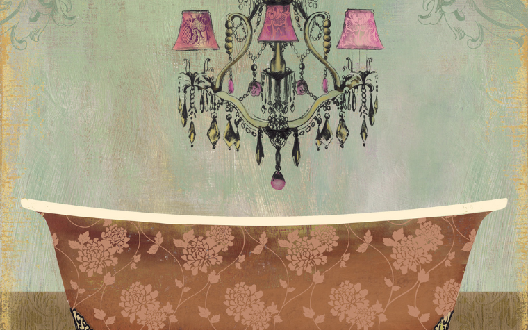 Wall art of a vintage floral tub with a pink and black chandelier overheard by iCanvas artist PI Studio