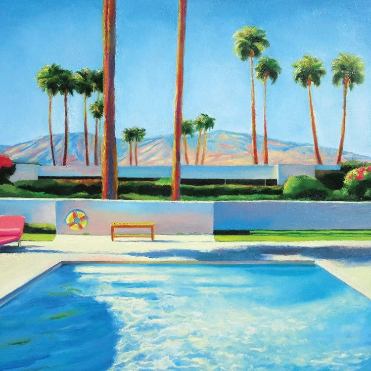 Wall art of Palm Springs California landscape with pool, palm trees and mountains by Ieva Baklane