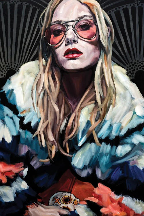 Portrait of a groovy woman with aviator sunglasses and a rainbow coat by iCanvas artist Belinda Eaton