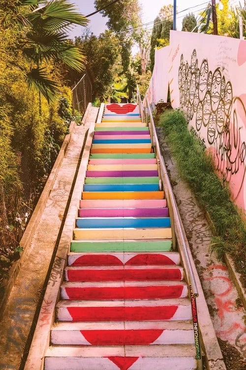 Wall art of rainbow heart Micheltorena stairs in California by Bethany Young