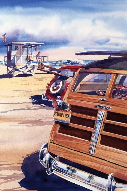 Wall art of vintage cars with surf boards on the roof at California beach by Bill Drysdale