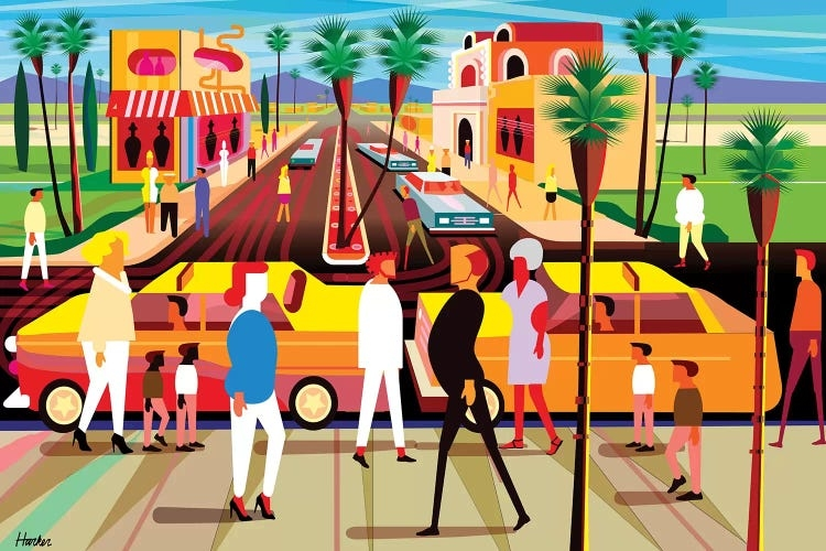 Vibrant illustration of people walking around Palm Springs, California by Charles Harker