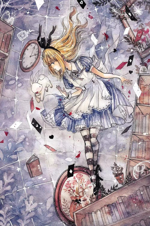wall art of alice in wonderland in a tornado of books clocks and cards by iCanvas artist Cherriuki