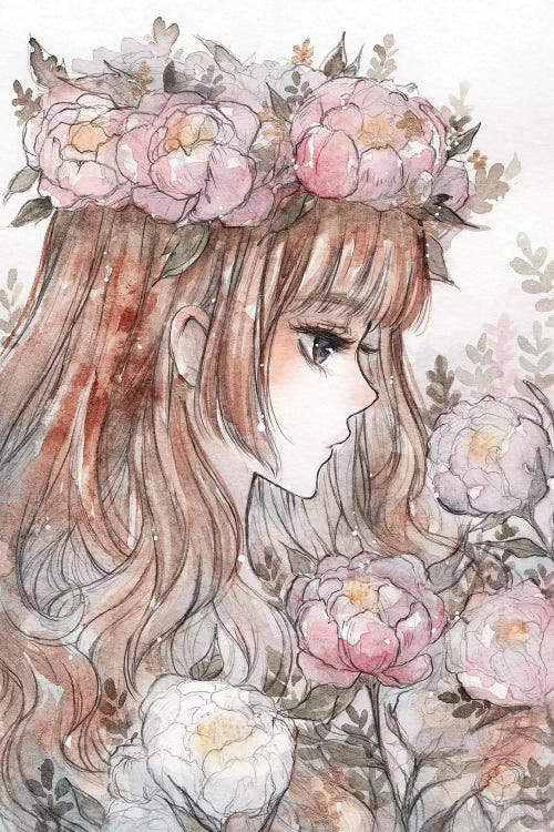 Wall art of a girl with a pink flower crown by iCanvas artist Cherriuki
