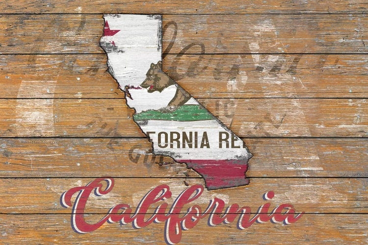 Wall art of wooden California sign with state shape and flag by iCanvas artist Diego Tirigall