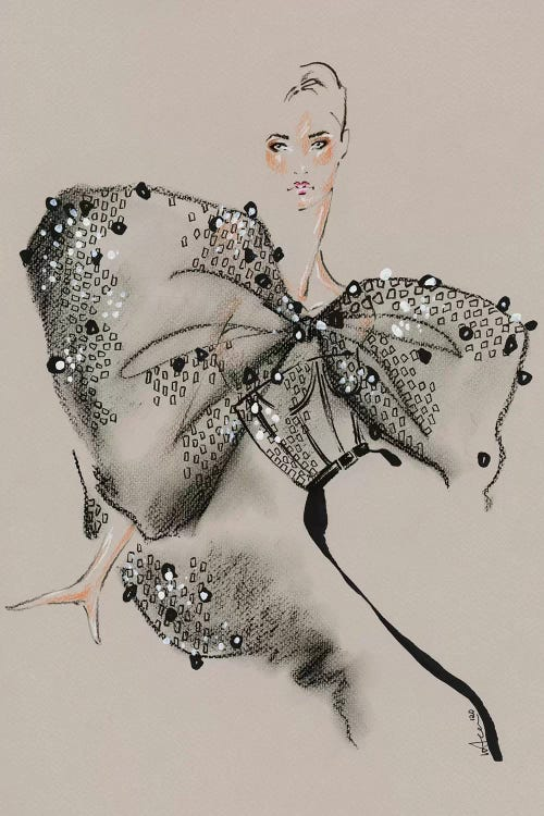 fashion drawing of a woman wearing a black Givenchy bow dress by iCanvas artist Elly Azizian