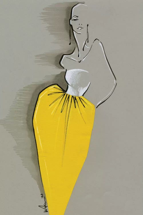 Fashion drawing of a woman wearing a white and yellow Givenchy dress by iCanvas artist Elly Azizian