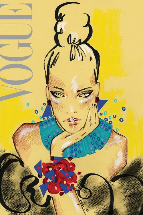 Fashion drawing of a woman with her hair in a bun on the cover of a Vogue magazine by iCanvas artist Elly Azizian