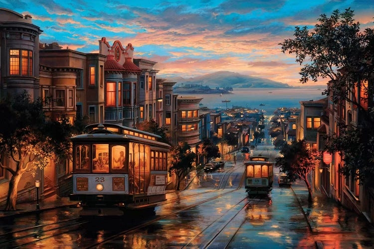 Painting of San Francisco cable car on street by iCanvas artist Evgeny Lushpin