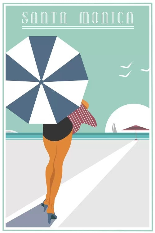 Sign for Santa Monica with back of woman holding an umbrella on the beach by Fly Graphics