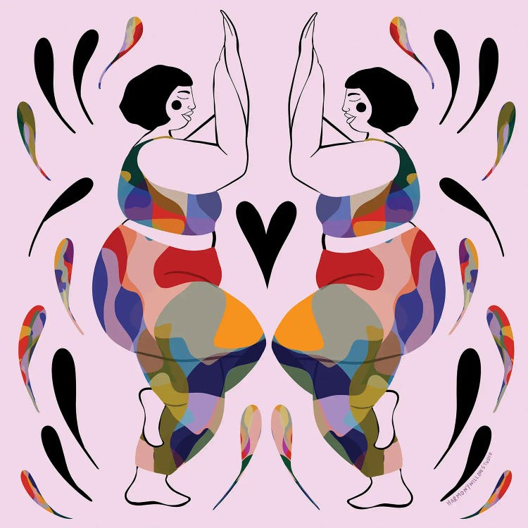 Wall art of two curvy yogis in colorful outfits with a heart in between by iCanvas artst Harmony Willow