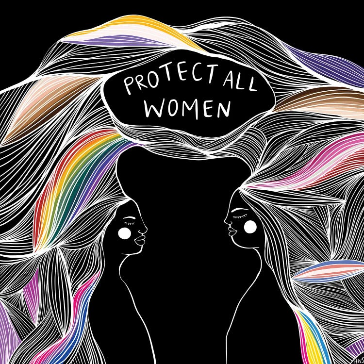 Wall art of two women facing each other with rainbow hair below the words protect all women by iCanvas artst Harmony Willow