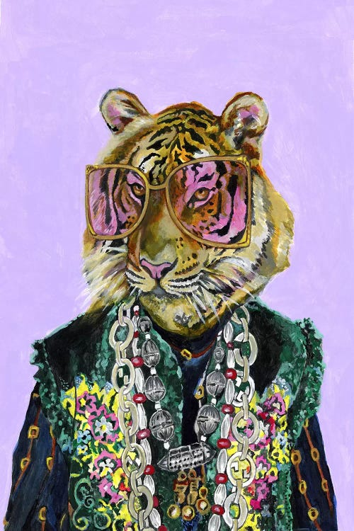 portrait of a bengal tiger wearing a flashy suit and big sunglasses by iCanvas artist Heather Perry