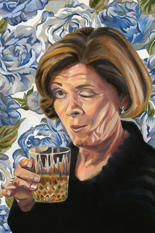 portrait of Lucille Bluth winking and drinking scotch against a blue floral background by iCanvas artist Heather Perry
