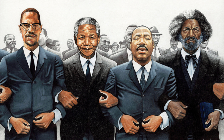 Civil rights leaders locking arms
